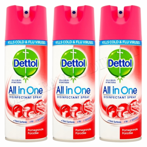 3 X Dettol All In One Disinfectant Spray 400ML Pomegranate Kills 99.9% Bacteria