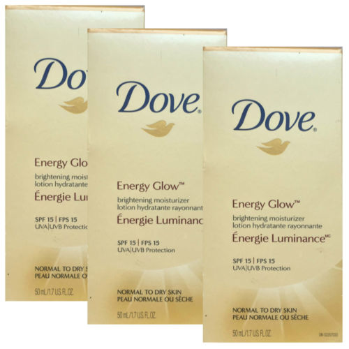 3 X Dove Energy Glow Brightening Moisturizer Lotion Normal-Dry Skin 50ml spf 15