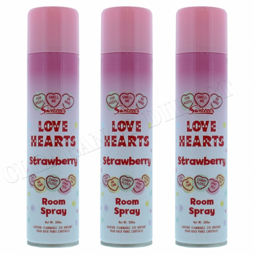 3 X SWIZZELS LOVE HEARTS STRAWBERRY AIR FRESHENER ROOM SPRAY 300ML