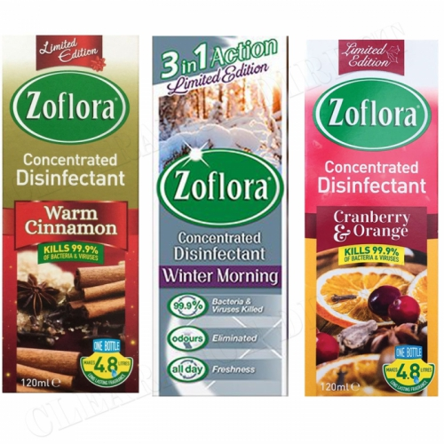 3 x 120ml ZOFLORA CHRISTMAS WINTER COLLECTION DISINFECTANT LIMITED EDITION