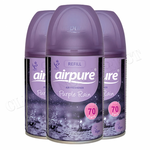 3 x AIRPURE PURPLE RAIN REFILL CAN/TIN AUTOMATIC FRAGRANCE AIR FRESHENER 250ml