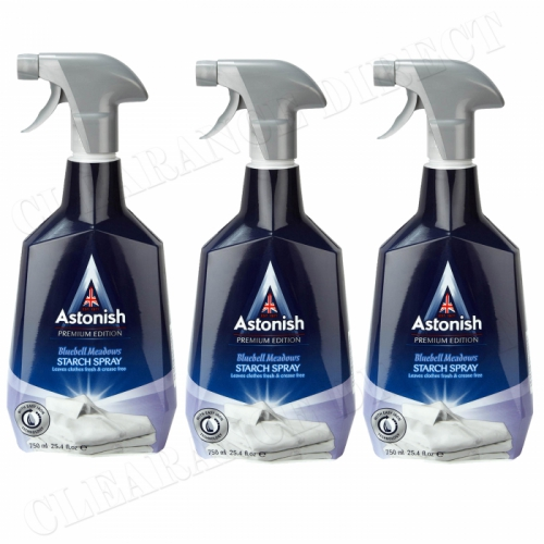 3 x ASTONISH PREMIUM EDITION SPRAY STARCH BLUEBELL MEADOWS 750ml