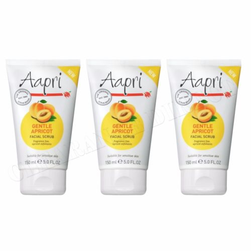 3 x Aapri GENTLE Apricot Face Facial Scrub 150ml - Fragrance Free Sensitive Skin