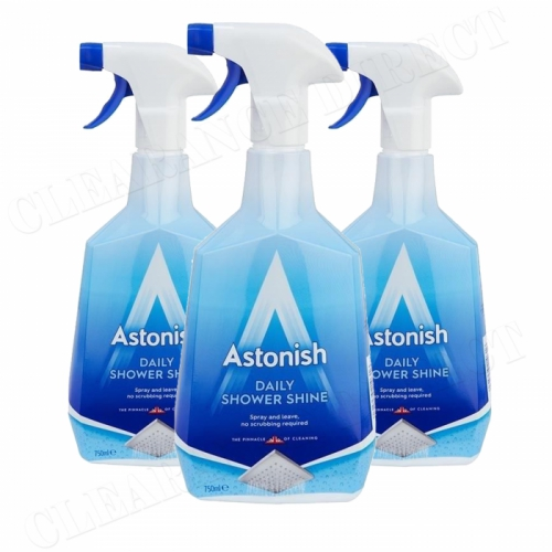 3 x Astonish Daily Shower Shine Cleaner Fresh Ocean Scent 750ml Trigger Spray
