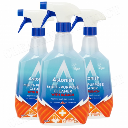 3 x Astonish Multi-Purpose Bleach Spray Hygienically Kills Bacteria Germs Clean