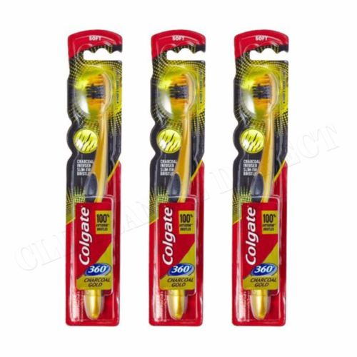 3 x Colgate Charcoal Gold Tooth Brush Soft 360 Teeth Whitening FREE POSTAGE