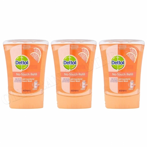 3x Dettol No Touch Refill Anti Bacterial Grapefruit Hand Wash Kills 99.9% Bacteria 250ml