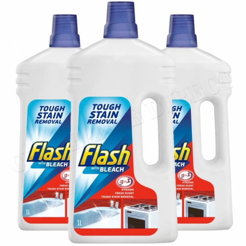 3 x FLASH 3 IN 1 LIQUID WITH BLEACH 1L FRESH SCENT