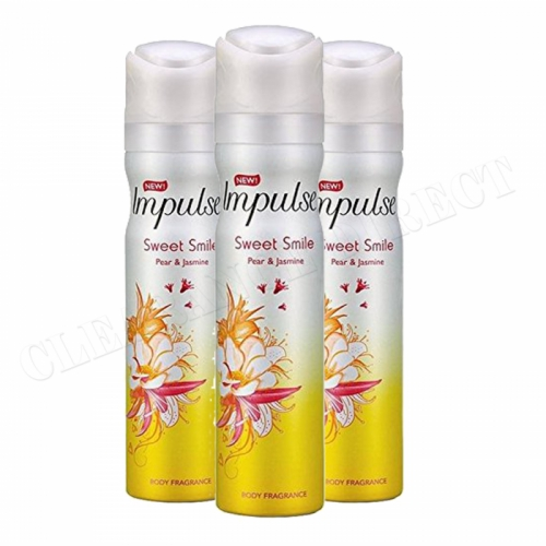 3 x IMPULSE BODY FRAGRANCE 75ml SPRAY SWEET SMILE PEAR & JASMINE