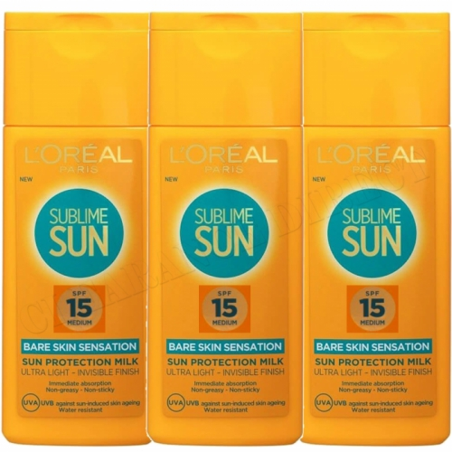 3x L'OREAL PARIS SUBLIME SUN SPF15 MEDIUM SUN PROTECTION MILK ULTRA LIGHT 200ml