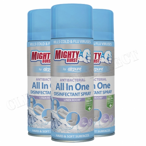 3 x MIGHTY BURST AIRPURE ANTIBAC ALL IN ONE DISINFECTANT SPRAY LINEN ROOM 450ml