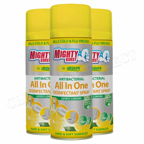 3x MIGHTY BURST AIRPURE ANTIBAC ALL IN ONE DISINFECTANT SPRAY LOVELY LEMON 450ml