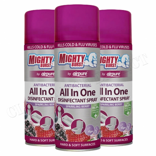 3 x MIGHTY BURST AIRPURE ANTIBACTERIAL ALL IN ONE DISINFECTANT SPRAY BERRY 450ml