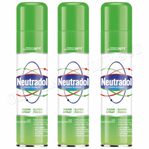 3 x NEUTRADOL ROOM SPRAY ODOUR DESTROYER SUPER FRESH IMPROVED FORMULA 300ml