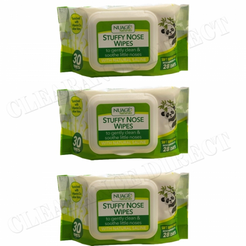 3 x NUAGE NATURALS SOFT BAMBOO FIBRE STUFFY NOSE BOOGIE WIPES 30's BIODEGRADABLE