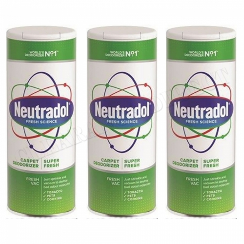 3 x Neutradol Super Fresh Carpet Odour Destroyer Air Freshner Vac n Clean 350g