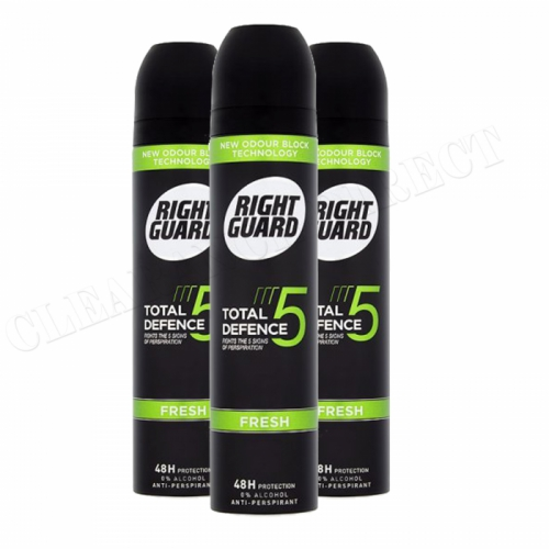 3 x RIGHT GUARD FRESH FOR MEN 48hr PROTECTION ANTI-PERSPIRANT SPRAY 250ml