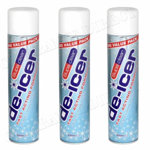 3 x SANMEX SUPA CLEAR DE-ICER 600ml FAST ACTING FORMULA OPERATES DOWN TO -15°C