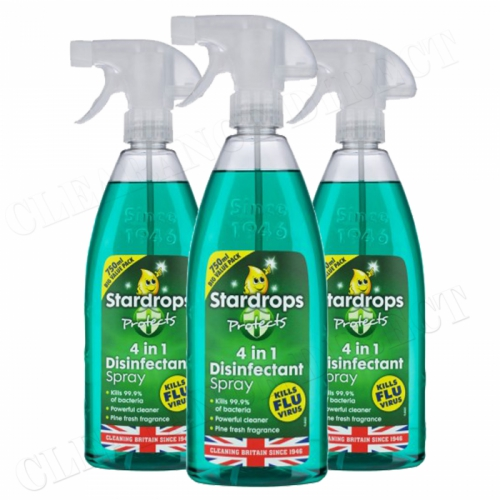 3 x STARDROPS 4 IN 1 PINE DISINFECTANT SPRAY 750ml