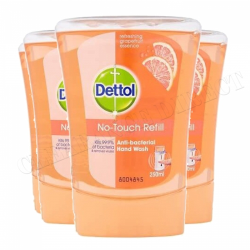 4 X DETTOL NO TOUCH REFILL ANTI BACTERIAL GRAPEFRUIT HAND WASH KILLS 99.9% BACTERIA 250ML