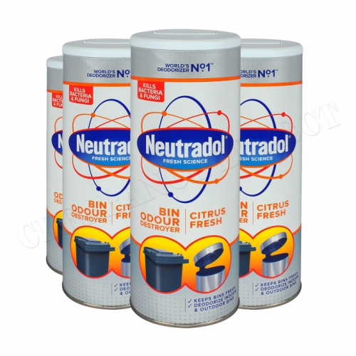 4 x NEUTRADOL DUSTBIN ODOUR DESTROYER KITCHEN BIN FRESHENER 350g CITRUS FRESH