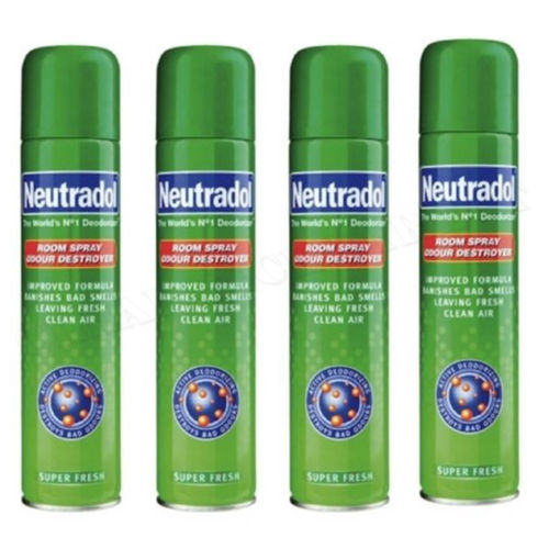 4 x NEUTRADOL ROOM SPRAY ODOUR DESTROYER SUPER FRESH IMPROVED FORMULA  330ml