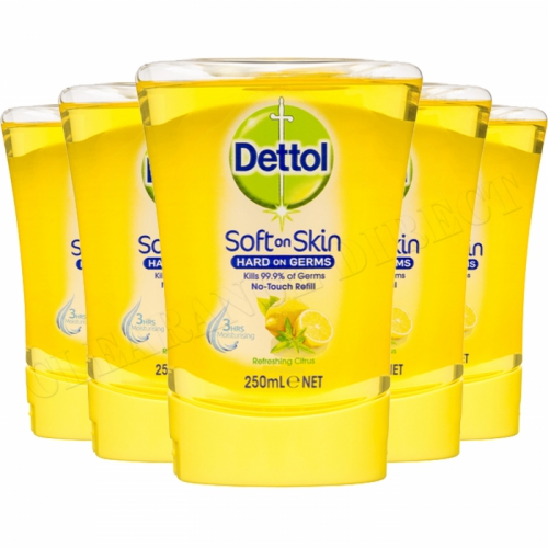 5 x 250ml Dettol No Touch Refills Soft On Skin Citrus Antibacterial Handwash