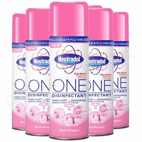 6 Neutradol One Disinfectant Spray Deodorizes 300ml Surface Air Blush Bouquet