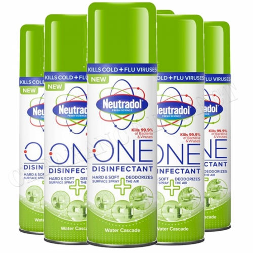 6 Neutradol One Disinfectant Spray Deodorizes 300ml Surface Air Water Cascade