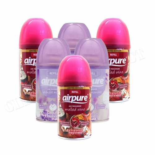 6 X AIRPURE FRESHMATIC AUTOMATIC REFILL 250ML AIRWICK LAVENDER & MULLED WINE