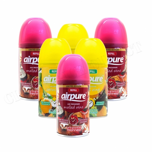 6 X AIRPURE FRESHMATIC AUTOMATIC SPRAY REFILL 250ML AIRWICK CITRUS & MULLED WINE