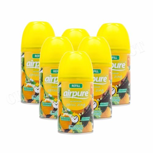 6 X AIRPURE FRESHMATIC AUTOMATIC SPRAY REFILL 6 x 250ML CITRUS ZING AIRWICK HOME