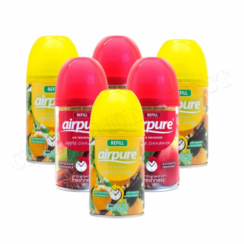 6 X AIRPURE FRESHMATIC AUTOMATIC SPRAY REFILLS 250ML AIRWICK CITRUS & APPLE CINNAMON
