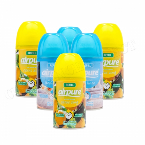 6 X AIRPURE FRESHMATIC AUTOMATIC SPRAY REFILLS 250ML AIRWICK CITRUS & LINEN