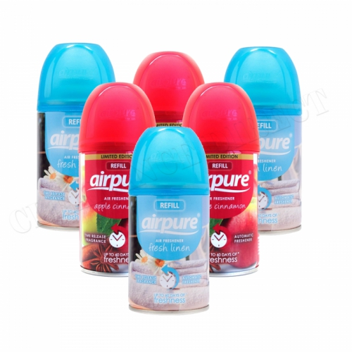 6 X AIRPURE FRESHMATIC AUTOMATIC SPRAY REFILLS 250ML AIRWICK LINEN & APPLE