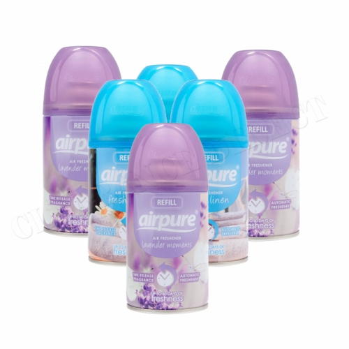 6 X AIRPURE FRESHMATIC AUTOMATIC SPRAY REFILLS 250ML AIRWICK LINEN & LAVENDER