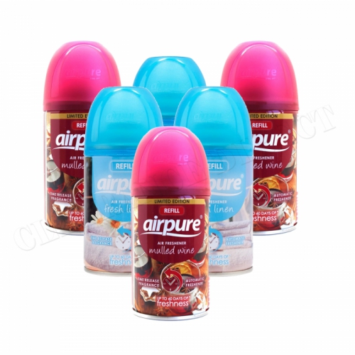6 X AIRPURE FRESHMATIC AUTOMATIC SPRAY REFILLS 250ML AIRWICK LINEN & MULLED WINE