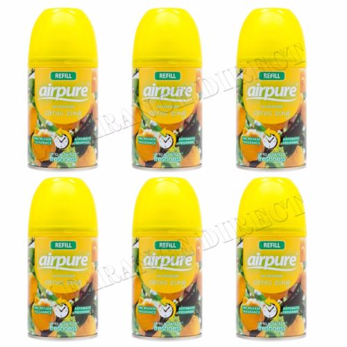 6 X AIRPURE FRESHMATIC AUTOMATIC SPRAY REFILLS 250ML CITRUS ZING AIRWICK HOME