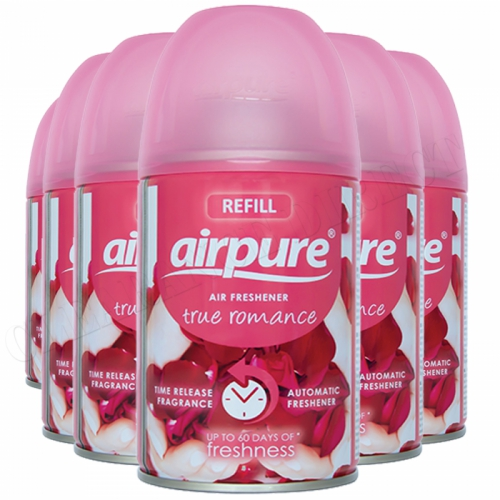 6 X AIRPURE FRESHMATIC AUTOMATIC SPRAY REFILLS 250ML TRUE ROMANCE AIRWICK NEW