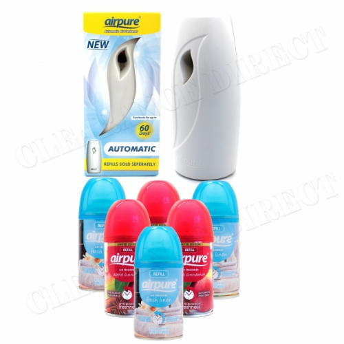 6 X AIRPURE FRESHMATIC REFILLS 6 x 250ML FRESH LINEN & APPLE AIRWICK + MACHINE