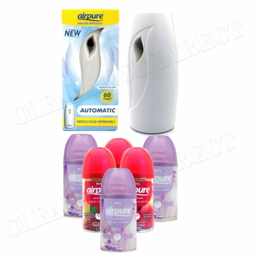 6 X AIRPURE FRESHMATIC REFILLS 6 x 250ML LAVENDER & APPLE AIRWICK + MACHINE
