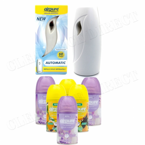 6 X AIRPURE FRESHMATIC REFILLS 6 x 250ML LAVENDER & CITRUS AIRWICK + MACHINE