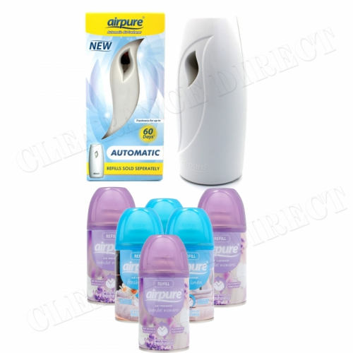 6 X AIRPURE FRESHMATIC REFILLS 6 x 250ML LAVENDER & LINEN AIRWICK + MACHINE