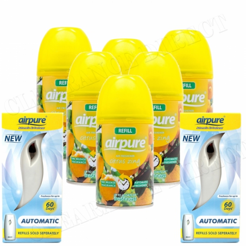6 X AIRPURE FRESHMATIC SPRAY REFILLS CITRUS ZING 250ML + 2 MACHINES AIRWICK