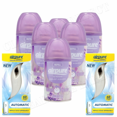6 X AIRPURE FRESHMATIC SPRAY REFILLS LAVENDER MOMENTS 250ML + 2 MACHINES AIRWICK