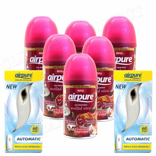 6 X AIRPURE FRESHMATIC SPRAY REFILLS MULLED WINE 250ML + 2 MACHINES AIRWICK