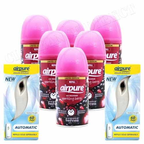 6 X AIRPURE FRESHMATIC SPRAY REFILLS SPARKLING BERRY 250ML + 2 MACHINES AIRWICK