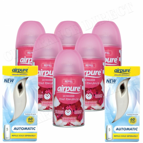 6 X AIRPURE FRESHMATIC SPRAY REFILLS TRUE ROMANCE 250ML + 2 MACHINES AIRWICK