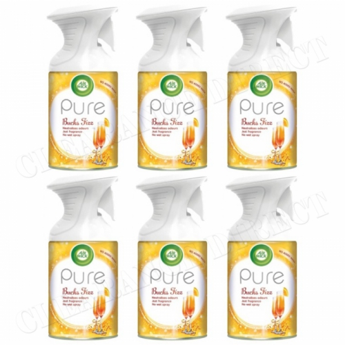 6 X AIRWICK AIR WICK PURE SPRAY BUCKS FIZZ CHRISTMAS FRESHENER SCENT 250ML
