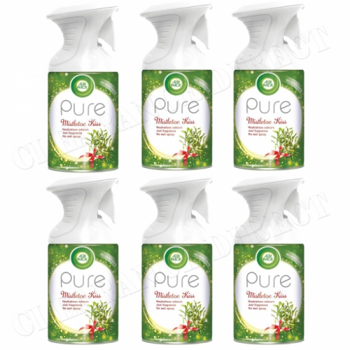6 X AIRWICK AIR WICK PURE SPRAY MISTLETOE KISS CHRISTMAS FRESHENER SCENT 250ML